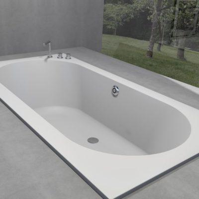 Baignoire rectangulaire avec bassin ovale